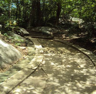 The stone paved way leads deep into the mountain….