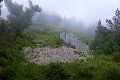 AN UNOTHERIZED CONSTRUCTION BY A BUSINESSMAN FROM COLOMBO WHO HAD A FORGED DEED FOR A PORTION OF LAND AT HORTON PLAINS , FINALLY DEMOLISHED BY THE DEPARTMENT OF WILD LIFE.