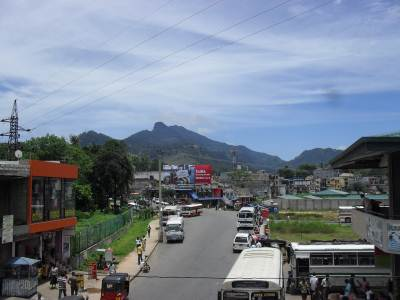 The town of Balangoda...surrounded by mountains.