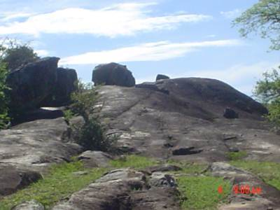 The round shaped smaller rock near the bigger one is an Elephant who was sunbathing