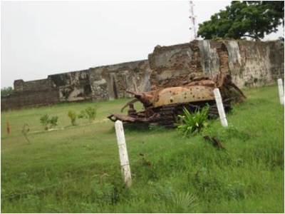 A blasted battle tank at Poonaryne
