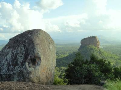 View of Sigiriya rock from top of Pidurangala