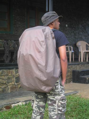 Kavinda's pack with its rain cover – custom made one