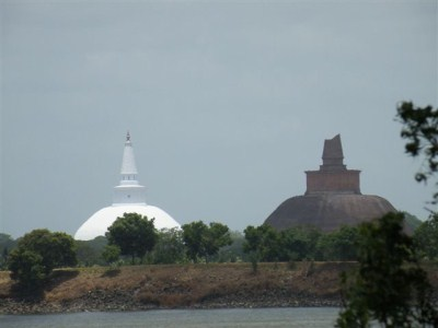Ruwanweliseya &amp; Jethawanaya seen from Thissa wewa