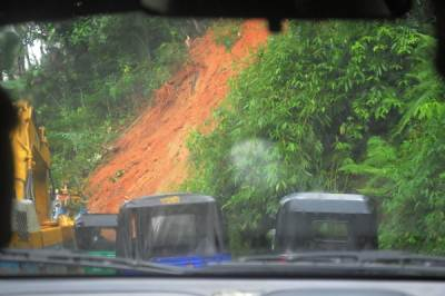 Road blocked due to land slides