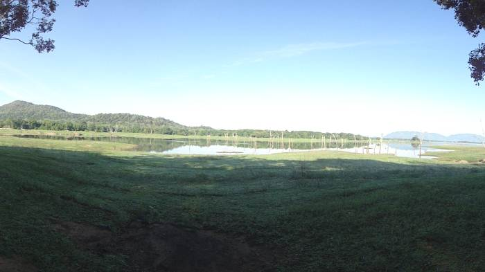 Panoramic view of the lake in the morning