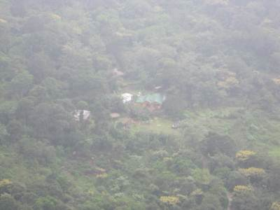Bambarakanda Eco Resort seen from the top of Bambarakanda falls
