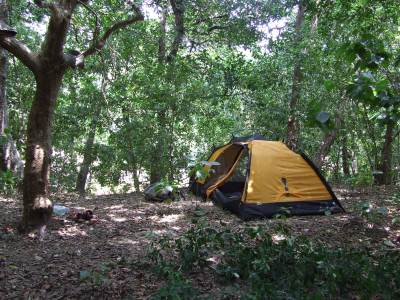 Our tent at Warahana - again in the bank of Menik Ganga