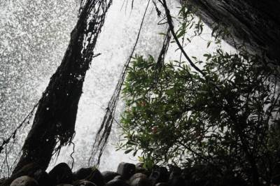 Inside the cave behind the waterfall