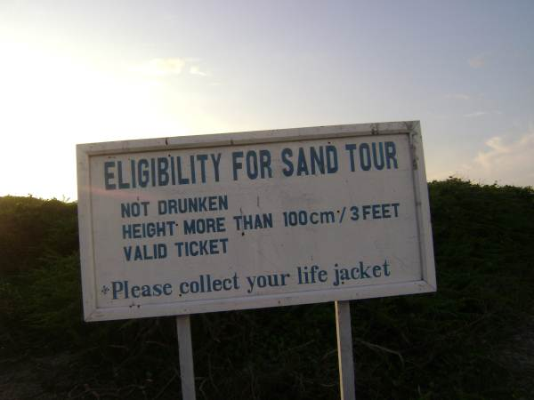 Eligibility for Sand Tour