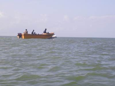 The lifesaving boat accompanying our three boats
