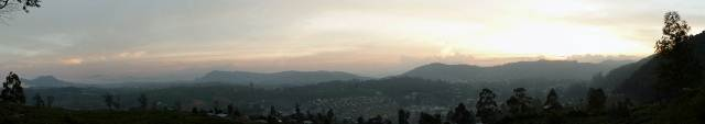 Panoramic view of sunset over Nuwaraeliya