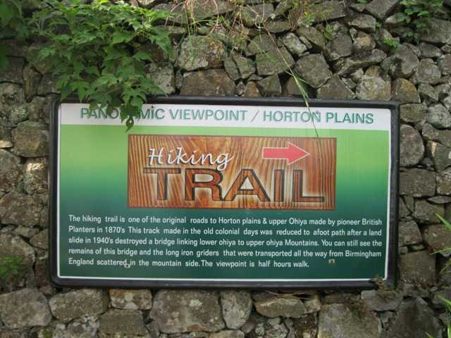 Notice board describing the Horton Plains trail and the hike to the viewpoint