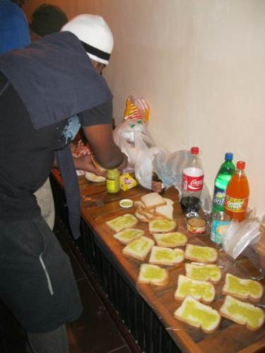 Teamwork – Preparing sandwiches for our picnic lunch