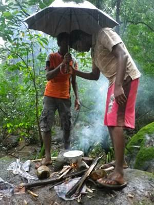 Cooking in the rain…
