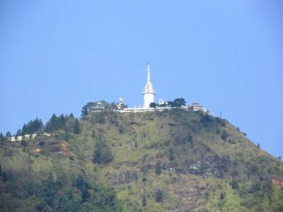 Ambuluwawa Stupa seen from Gampola station