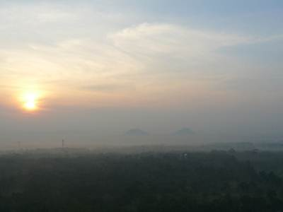 Pidurangala and Seegiriya with rising Sun