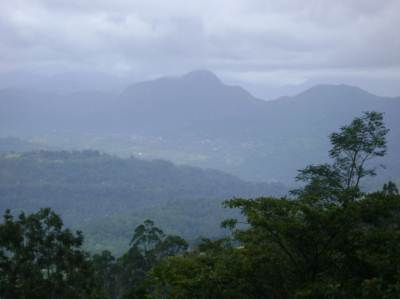 From the top of the hill you can see the Hantana range and a valley down glistening with the morning sun
