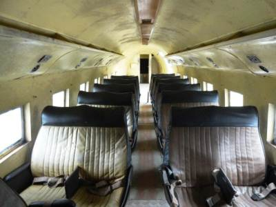 Inside the former airliner...must have been crowded