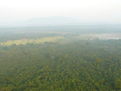 Ritigala at a distance through mist