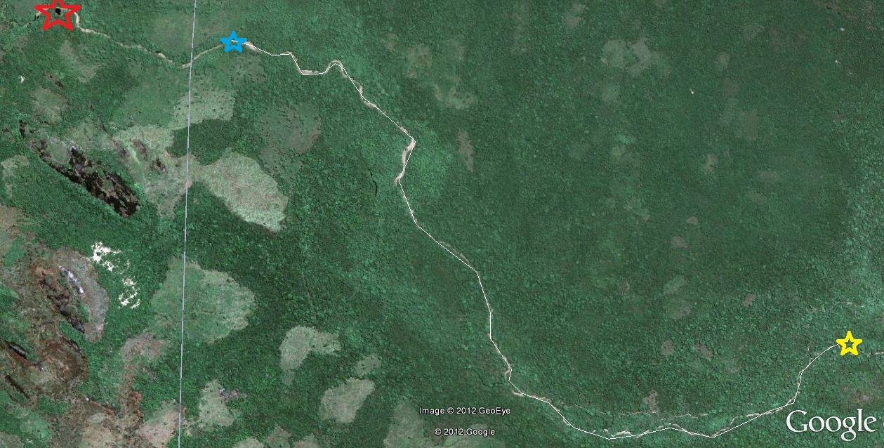The map red= croc hole, blue=where we got in to the stream, yellow=budupatuna