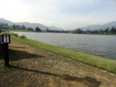 Walking and cycling area bordering the lake