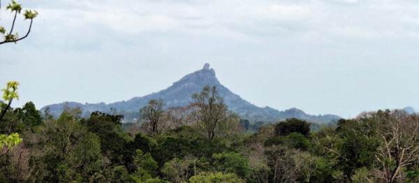 Chimmney rock which also has a pagoda on the summit, seen far away