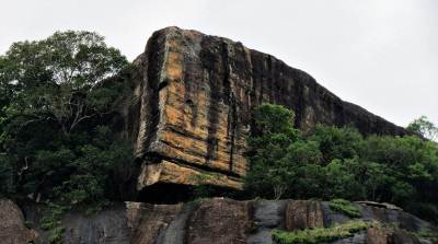 the summit of Rahathan kanda, note the cave