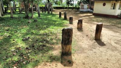 Stone pillars at Udayagiri temple