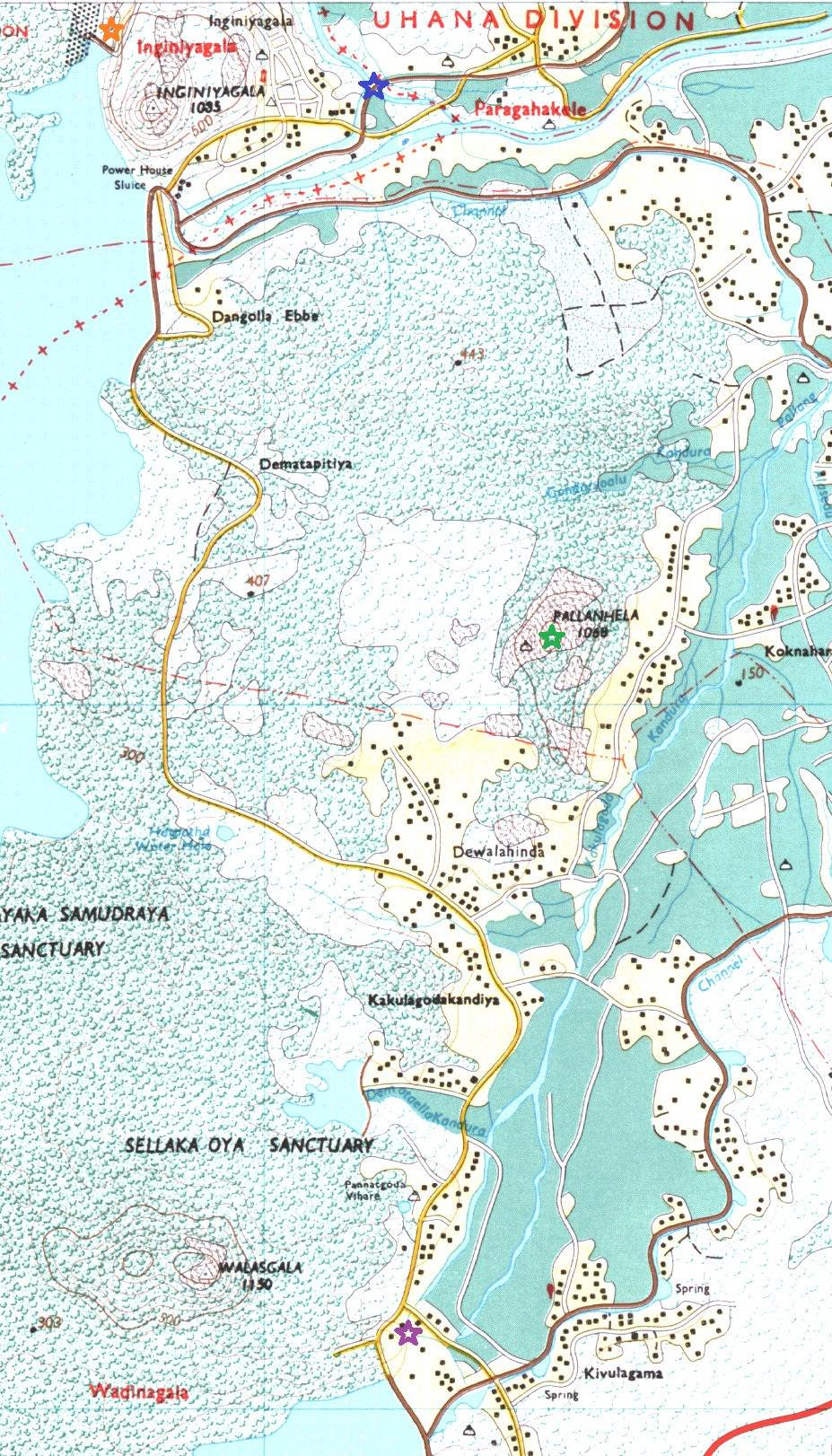 map in blue=the waterways, green=pallan hela, orange=spill, purple=hot water spring