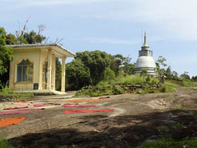 Stupa and the buddha statue