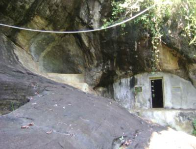 Entrance to the Cave now covered by concrete wall
