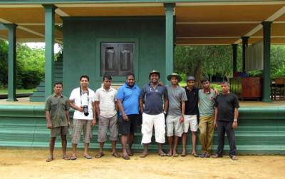 Our team.. from left hand corner Bungalow care taker Sunil. Kasun, Van driver, Sankatha, Neranjan, My self, Sandun, Tracker Janaka and Jeep owner/driver/ex tracker- Rupasinghe.