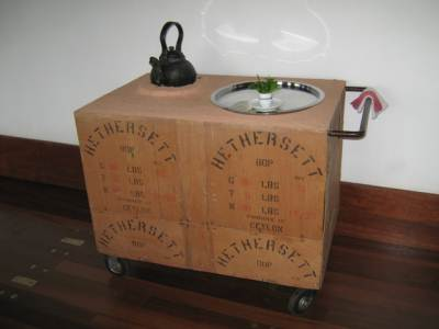 A tea cart made up of Tea chests