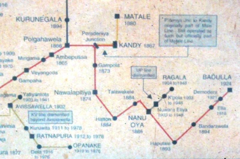 Map of original railway lines in the up country. Note the railway line from Nanu Oya to Ragala 1903-1948