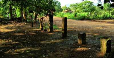 stone pillars arranged as a fence by locals