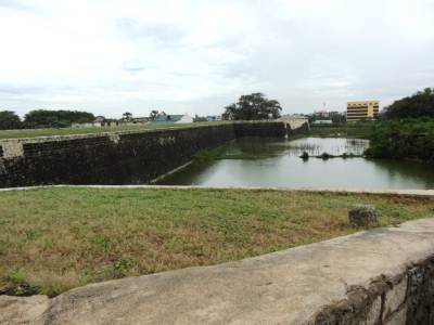 The canal surrounding the fort