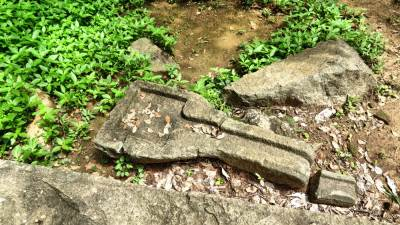 Stones used as toilet