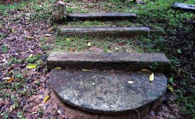 steps with a moon stone