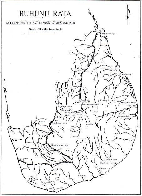 Map of Sri Lanka showing the demarcation of the ancient Ruhuna                                                              (Curtsey web of Rhuhunu SanskruthikaMandalaya)