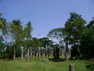 Around this temple, there are many stone pillar bases