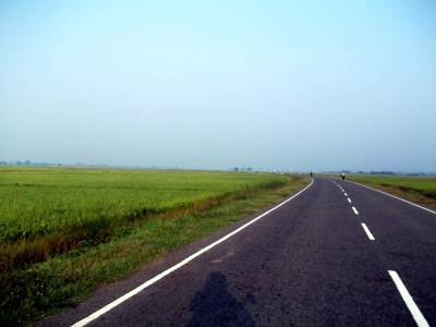 Acres of paddy fields and the tarmac across it. Pottuvil