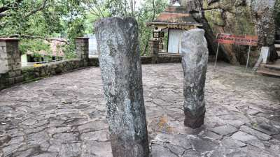 Stone pillars scattered within new constructions