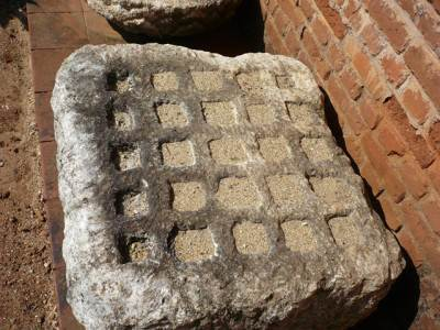 Treasure stone. Precious stones, gold, etc. and are stored in the pits, closed by a lid and placed inside stupas