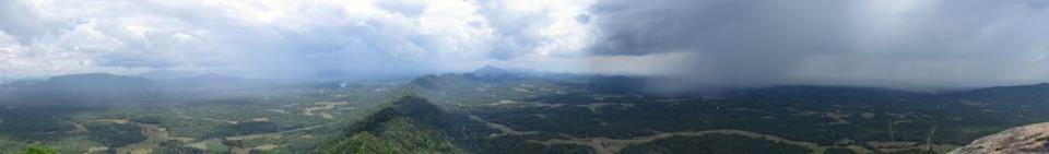 a panorama taken from the summit while raining