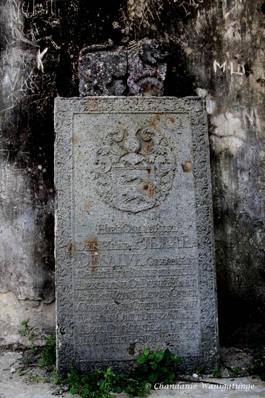 A bit of history – the tomb stone of Mr Pierre de Salve, the Chief of Mannar