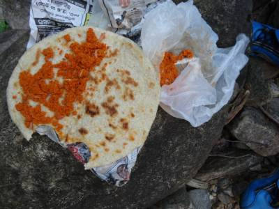 Roti and Sambol... we didn't forget to bring the papers back