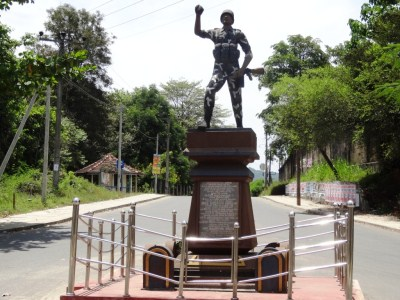 The Statue at Hasalaka, behind is the road towards Wasgamuwa