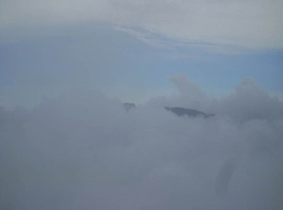 Weak sight of Gombania through clouds