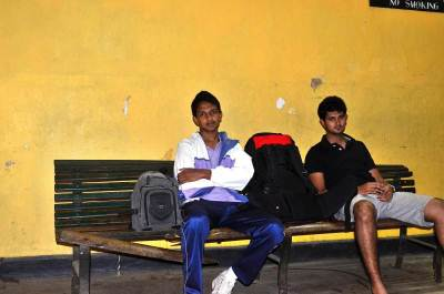 Waiting in Gampola railway station station for the night mail train to arrive